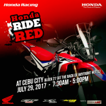Honda Ride Red this Saturday – July 29, 2017 Cebu City!Have you seen the latest …