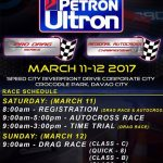 Race Schedule for this weekend! The Racing Line 2017 Petron Ultron Pro Drag Race…